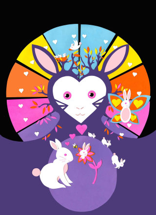 rabbit, rabbits, bunnies, butterfly, hearts, trees, nest, flowers