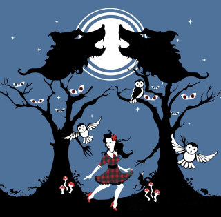 wolves, wolf, owls, girl, night, mushrooms, bunny, rabbit, mice, mouse