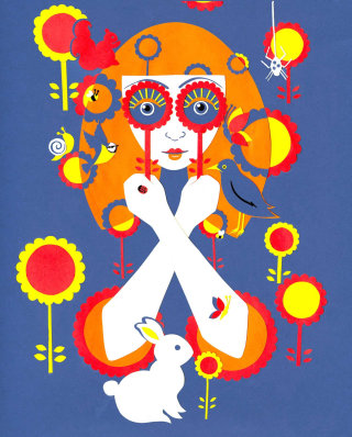 70's, flowers, retro, girl, orange, bunny, birds