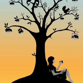 sunset illustration, Girl below tree