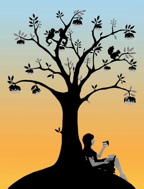 ilustração do sol, garota abaixo da árvore