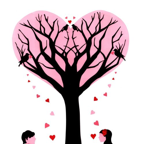 Lovers under tree illustration by Vicky Scott