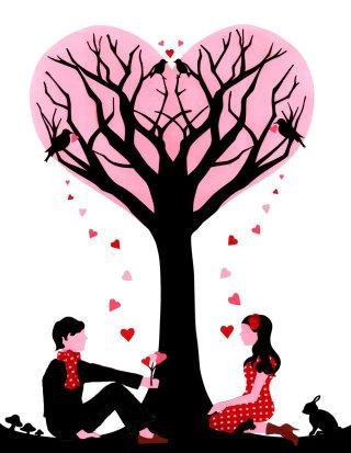 Lovers under tree illustration by Vicky Scott