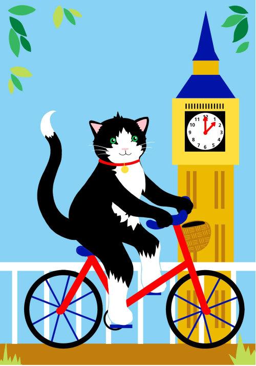 gato, londres, bicicleta, bicicleta, andar de bicicleta