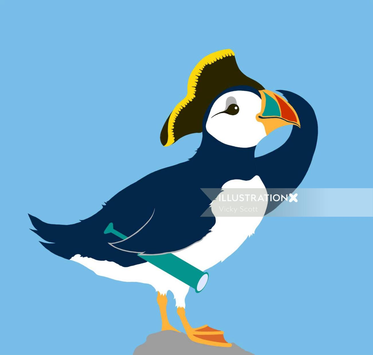 puffin, bird, captain hat,