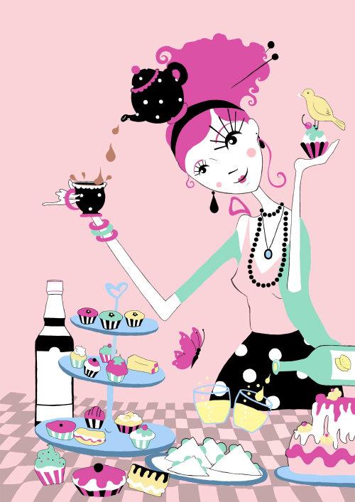 tea, lemonade, buterfly, pimms, teapot, cupcakes, bird, cake, polka dots,