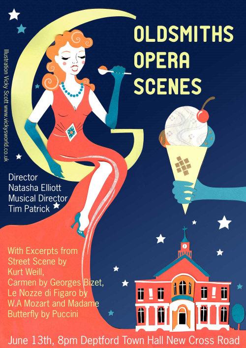 ópera, anos 40, sorvete, lua, noite, cantando, vintage