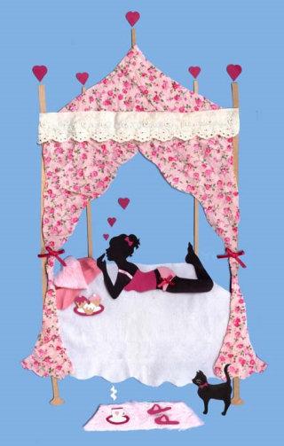 girl, cake, bed, cat, cupcake, heart