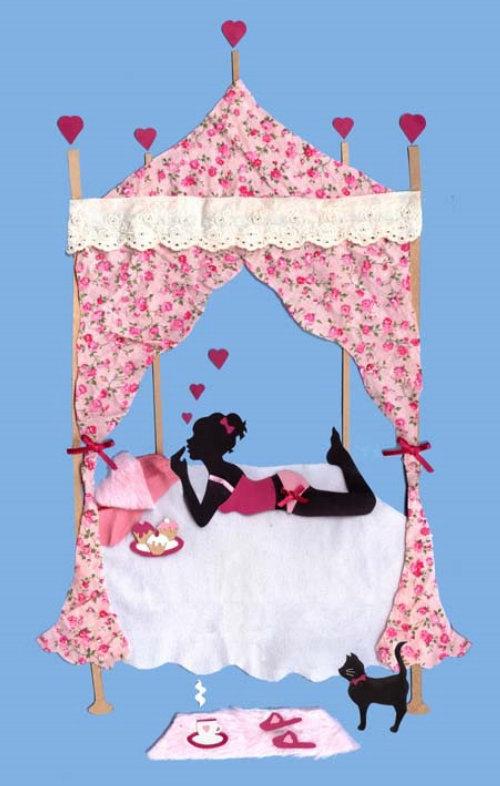 menina, bolo, cama, gato, cupcake, coração