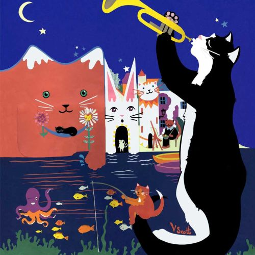 cats, spain, jazz, dali, night, cheshire cat, fishing, boats, village, seaside, sea, flowers, stars