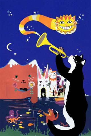 cats, spain, jazz, dali, night, cheshire cat, fishing, boats, village, seaside, sea, flowers, stars