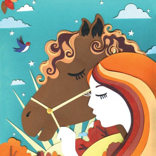 horse, girl, hair, sun, sunset, swallow, trees, landscape