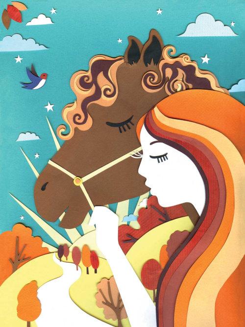 cavalo, menina, cabelo, sol, pôr do sol, andorinha, árvores, paisagem