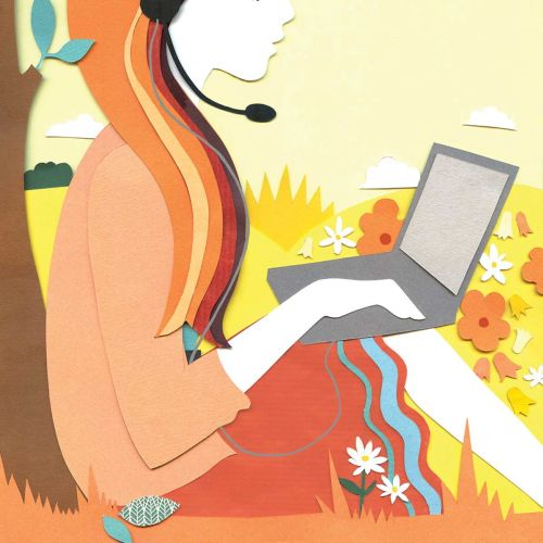 Girl with laptop illustration by Vicky Scott