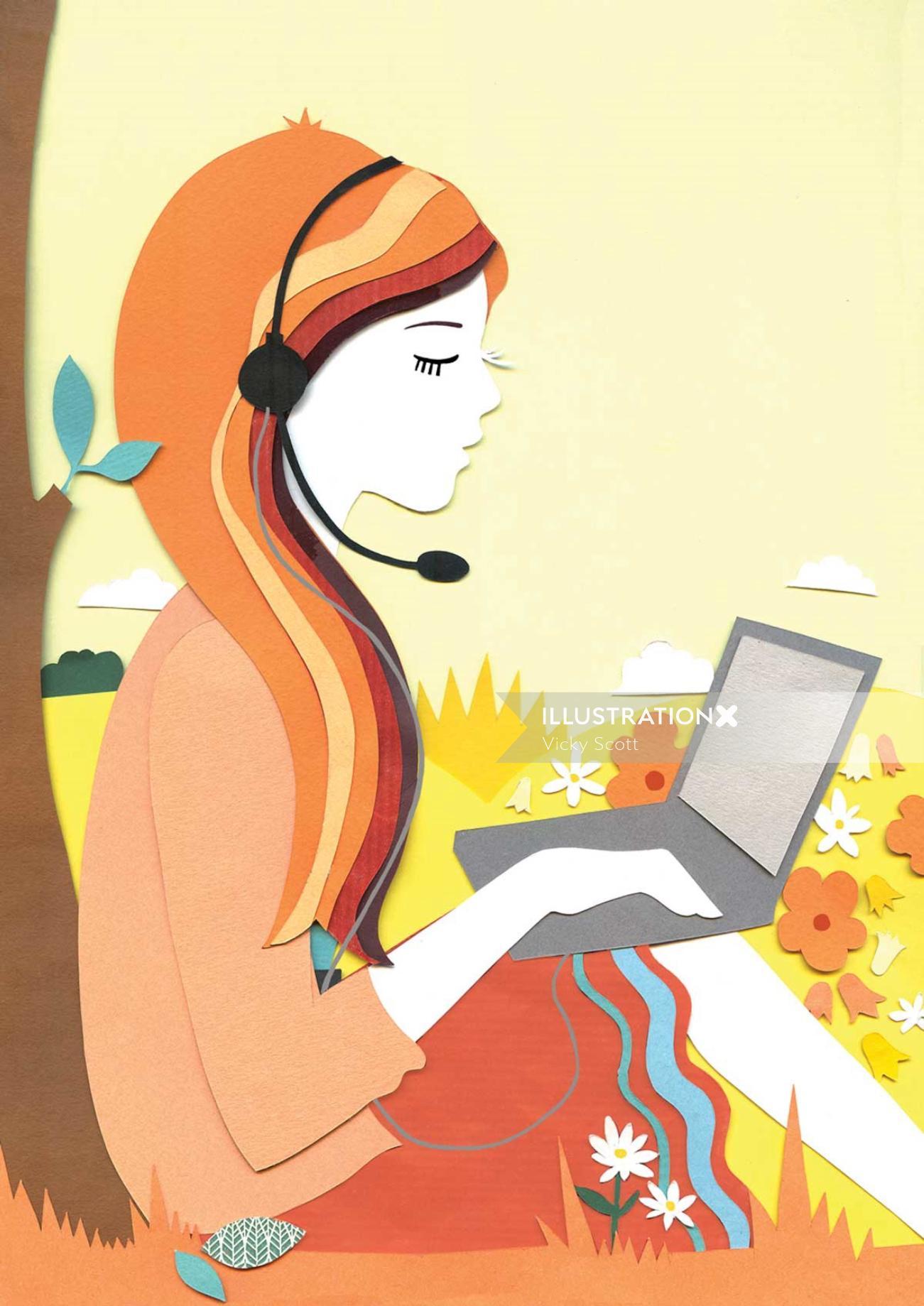 Girl with laptop illustration by Vicky Scott