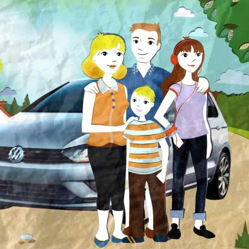 car, family, tree, road, clock, driving,dad, boy, girl, headphones, teenager, house, mum,,