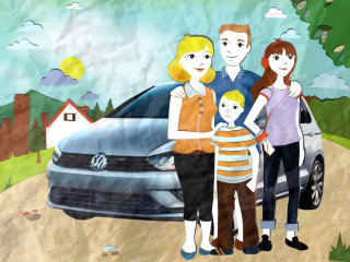 car, family, tree, road, clock, driving,dad, boy, girl, headphones, teenager, house, mum,,