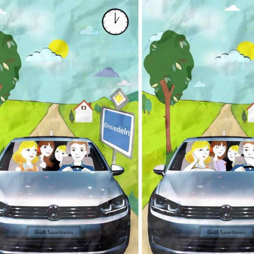 car, family, tree, road, clock, driving,