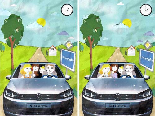 carro, família, árvore, estrada, relógio, dirigindo,
