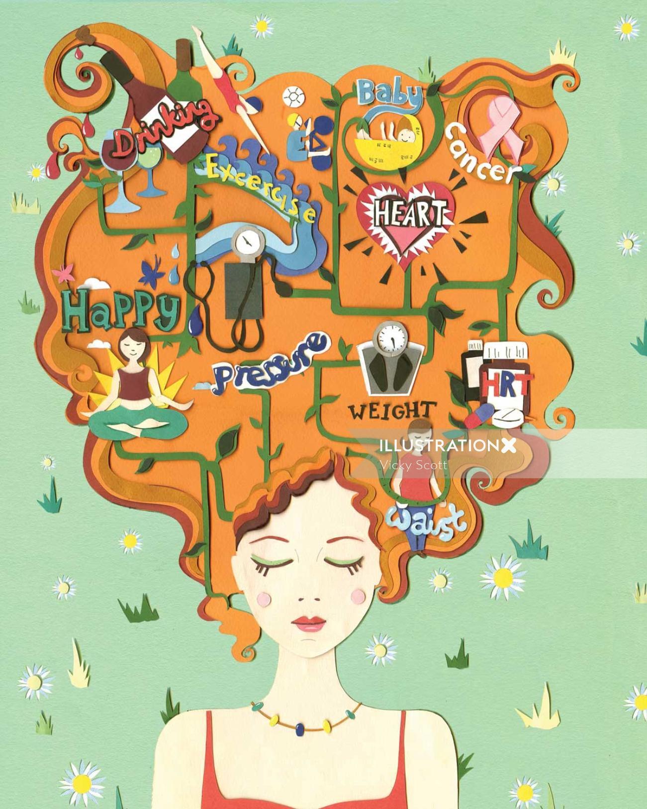 health, lady, hair, flowers, daisy, baby, wine, leaves