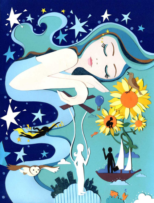 dreams, lady, sunflowers, flying, stars, owl, boat, sleep