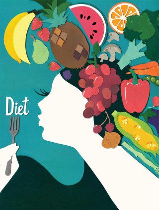 Fruits on lady head illustration by Vicky Scott