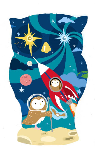 owl, space, rocket, stars, astronaut, charity