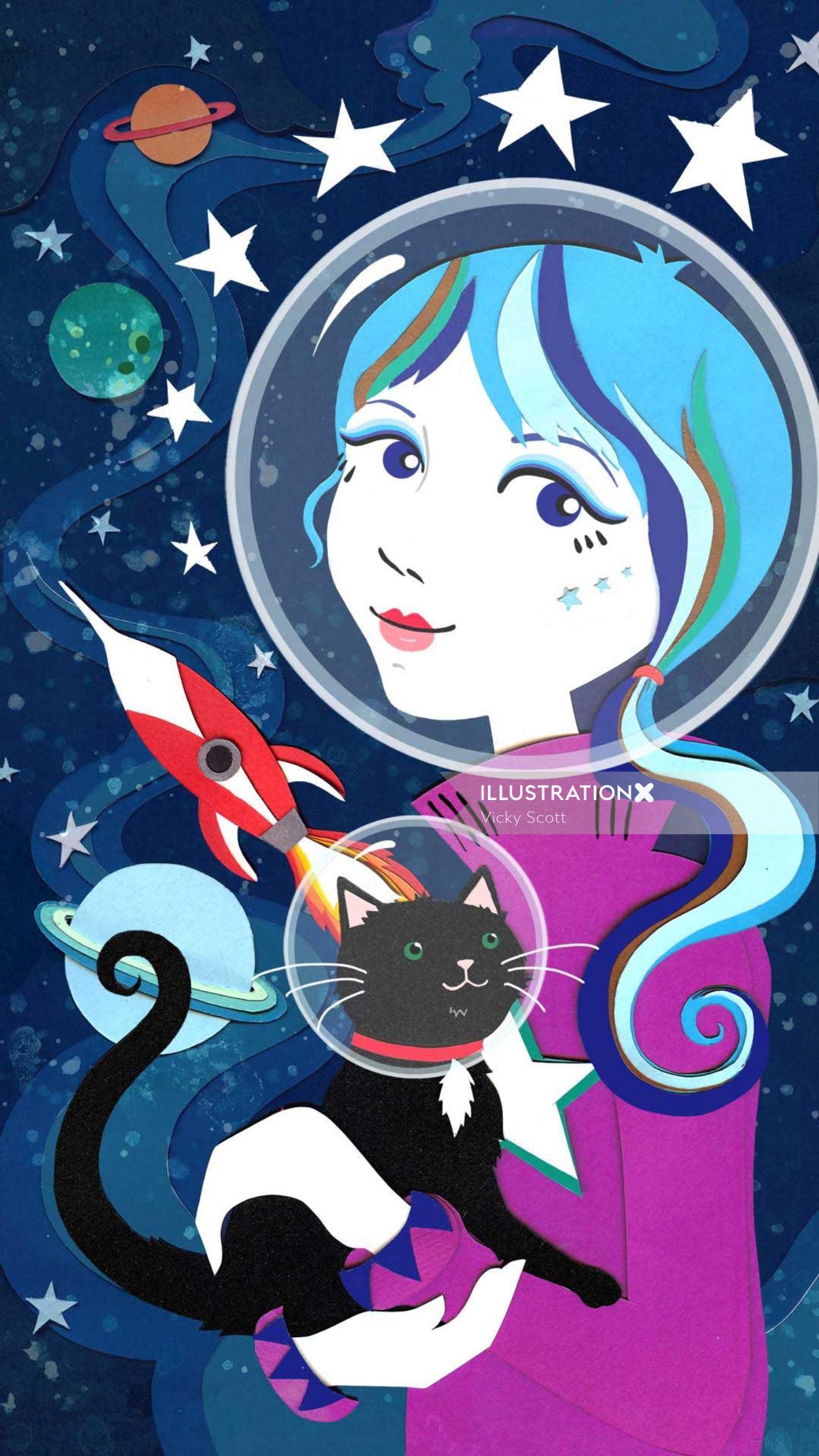 Space theme illustration by Vicky Scott