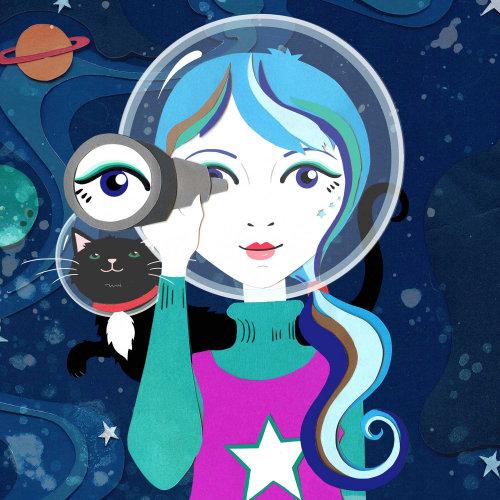 espaço, gato, gatinho, estrelas, arte azulejo, astronauta, foguete, planeta, estrelas