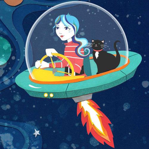 space, cat, kitty, stars, app, tile art, astronaut, rocket, planet, stars