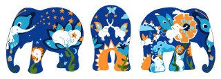 elephant, butterfly, flowers, tropical, waterfall, sun, moon, stars, elephant,