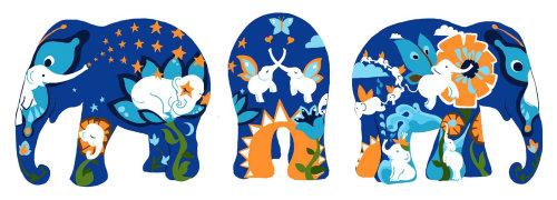 elefante, borboleta, flores, tropical, cachoeira, sol, lua, estrelas, elefante,