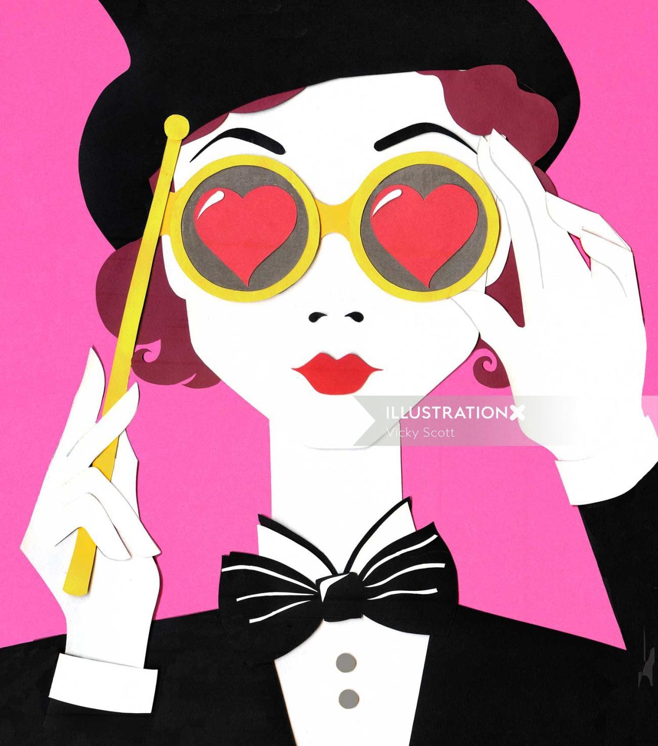 opera glasses, silhouette, lady, suit, bow tie, heart, top hat, greta garbo, lady, 1930's, retro