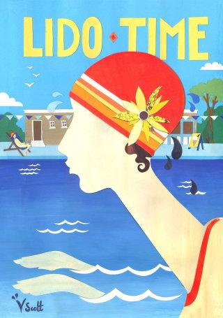 Girl swiming illustration by Vicky Scott