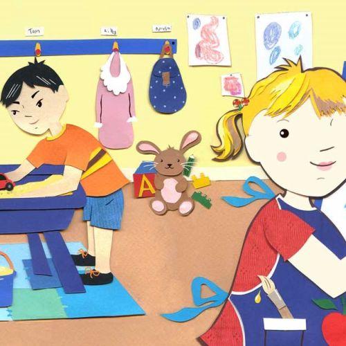 Kids playing illustration by Vicky Scott