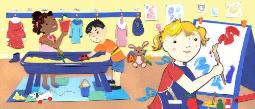 Crianças brincando de ilustração de Vicky Scott