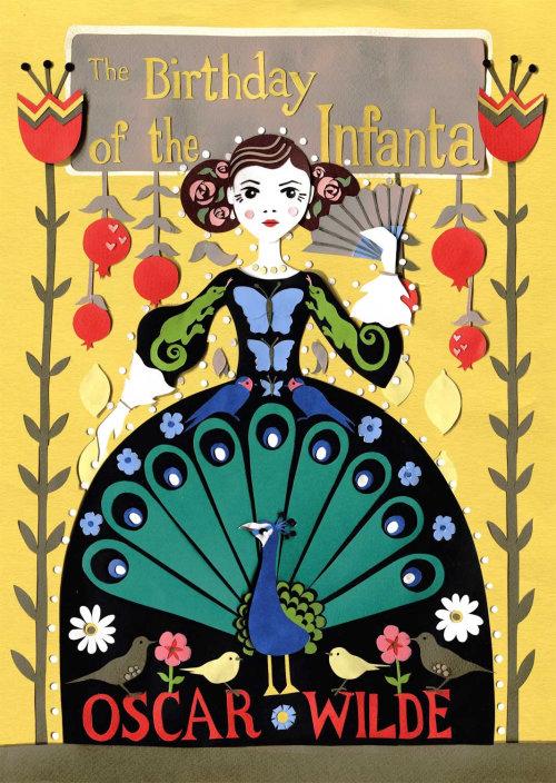 pavão, princesa, pássaros, lagartos, frutas, borboleta, colagem, capa do livro, oscar wilde