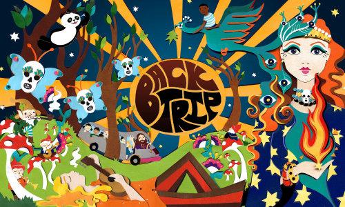 Anos 60, crânios, sol, ônibus, hippies, hippie, psicodélico, música, festival, pássaros, pandas, estrelas, noite