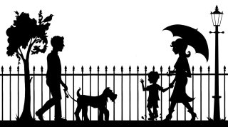silhouette, dog, crowd, umbrella, lamp post, fence, hoarding, black and white, man,
