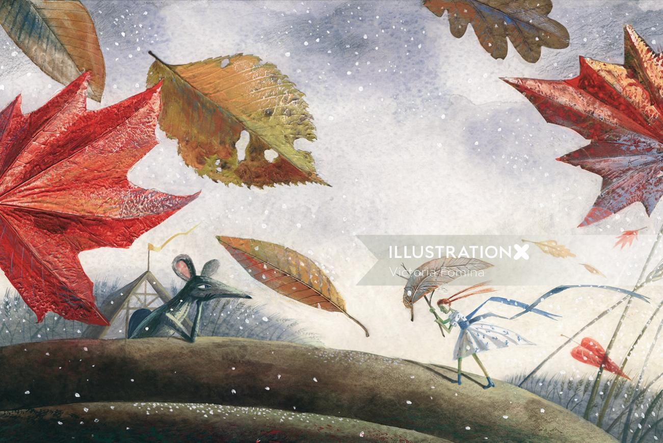 Thumbellina watercolour children's book cover