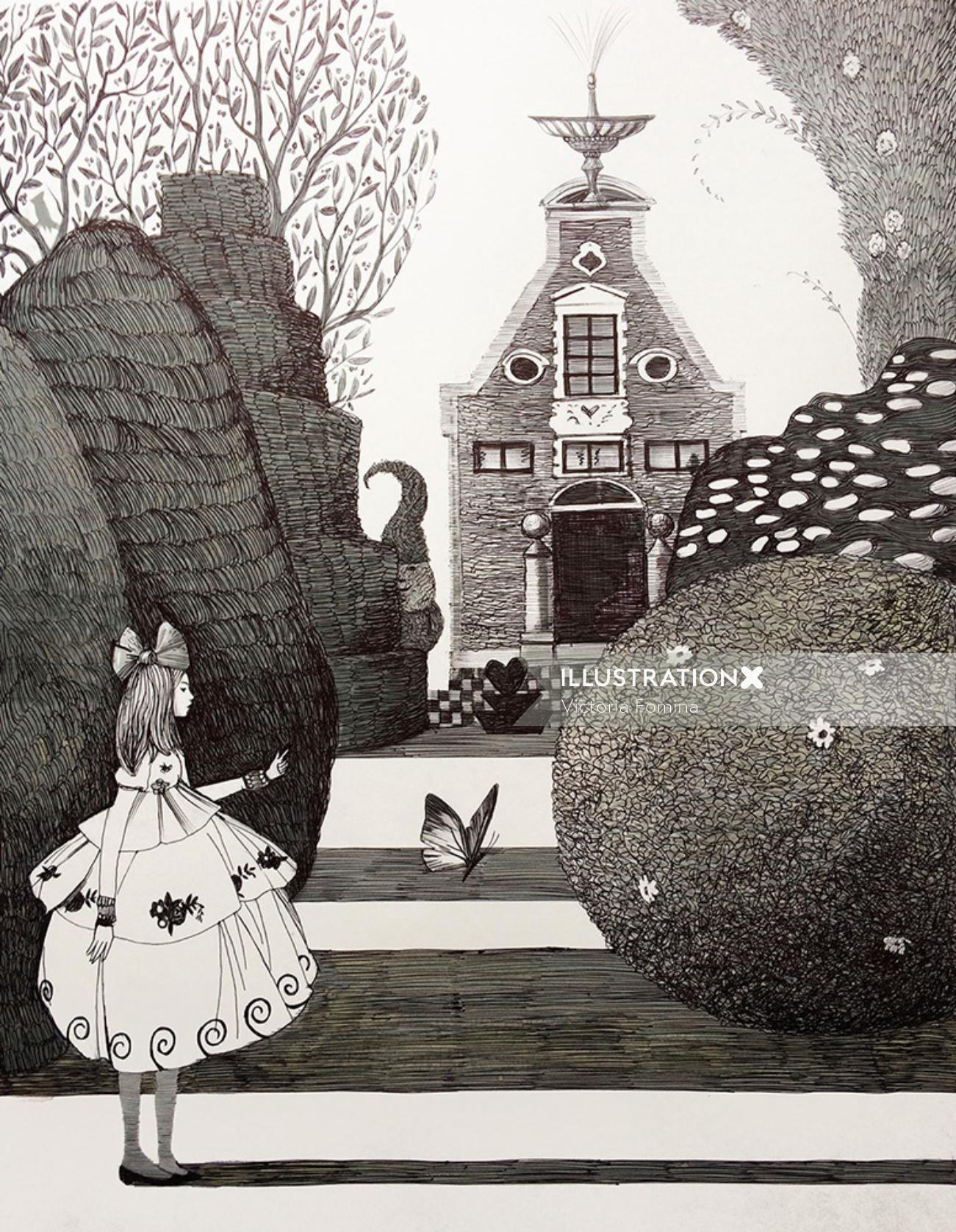 Black and white art of princess