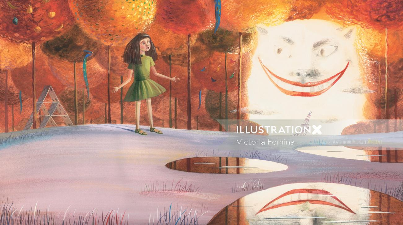 Digital painting of small girl for Alice in Wonderland