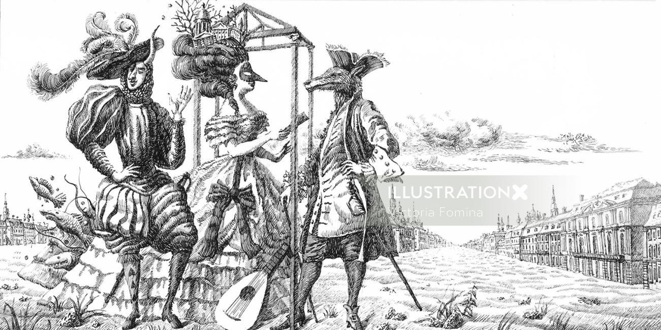 Man and beast in retro dresses illustration