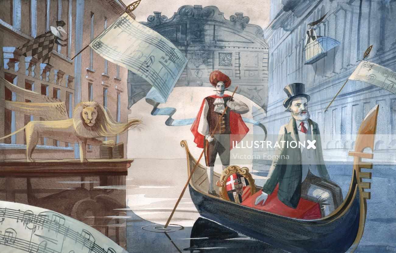 Historical art of man traveling on boat
