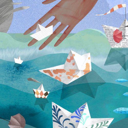 Editorial illustration of paper boats for Brio Magazine