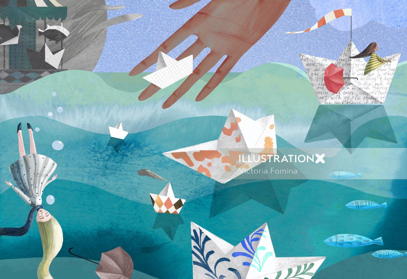 Editorial illustration of paper boats for Brio Magazine