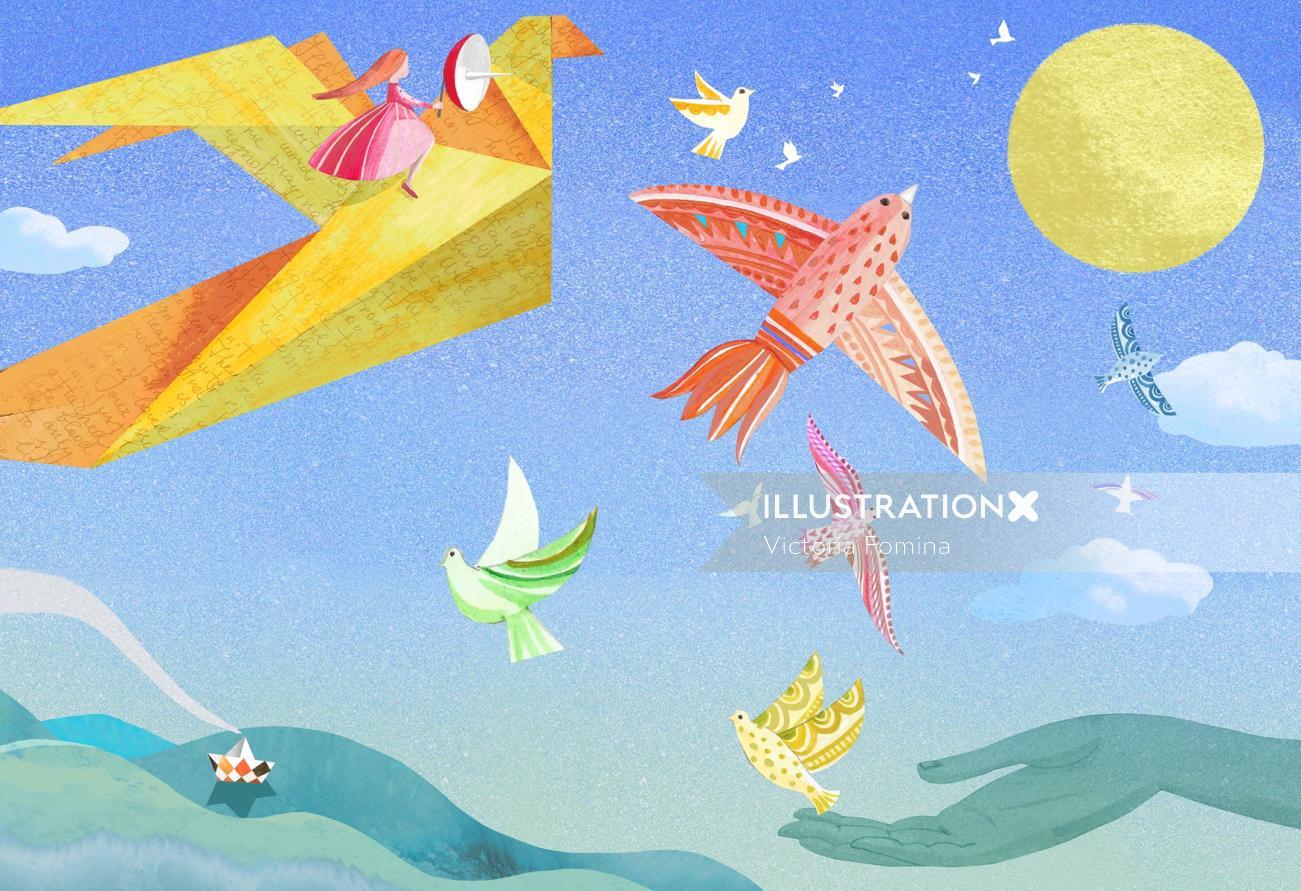 Digital painting of flying birds