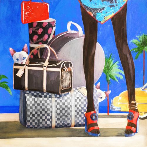 Swimming with pets watercolor painting