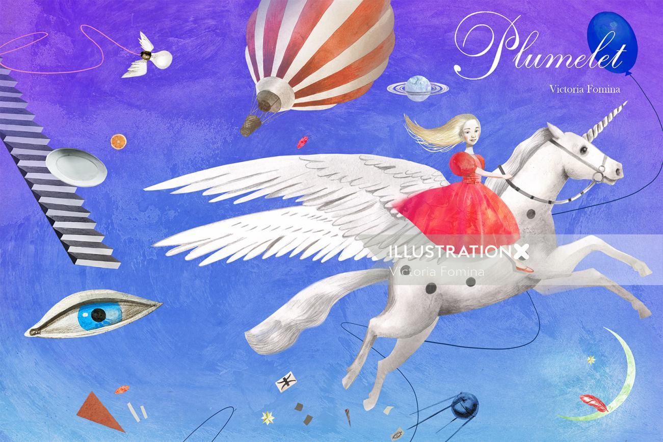 Fantasy girl flying on horse