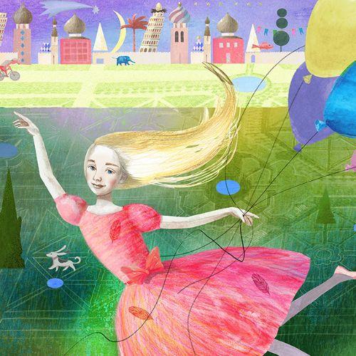 Children illustration girls dancing with balloon